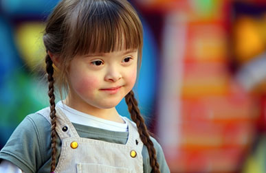 Small girl with Downs Syndrome